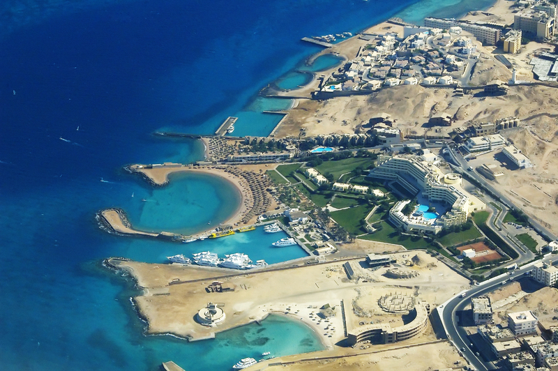 Hurghada from airplane ( hurghada hotels )